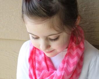 Little Girl's Chevron Infinity Scarf - Pink on Pink Chevron Spring Scarf - Pink Toddler Scarf - Knit Scarf - Little Girl Easter Basket Gift
