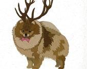 Illustrated Deer Pomeranian Blank Card