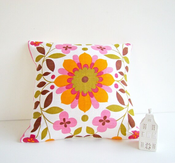 Scandinavian Style Linen Cushion Cover, Retro Modern, Bright and Colorful Pillow