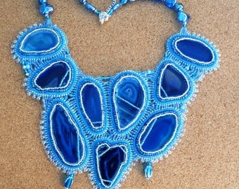 blue agate bead embroidered collar style necklace.