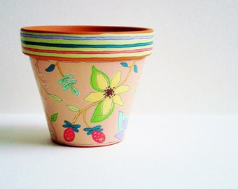 """Hand Painted Flower Pot 4 Inch Terracotta Planter """"Meadow""""- Made to Order"""