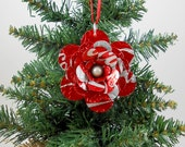 Coca Cola Flower Christmas Ornament.  Recycled Soda Pop Can Art.  Double sided.