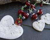 Snowflakes and Poinsettias - Stoneware, Glass and Sterling Necklace