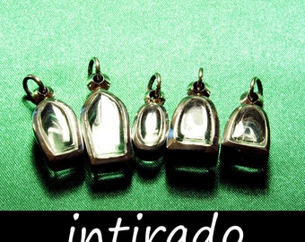 Intirado, Marimo, Reliquary, Tiny Pendants, Individual Designs, Empty Shadow Box Containers, Silver Metal, DiY for Special Objects, 5pcs