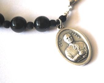 Don Bosco Mens Rosary Bracelet, Black Onyx Tigers Eye, Turquoise Saint Bracelet Male confirmation Gift Saint Don Bosco