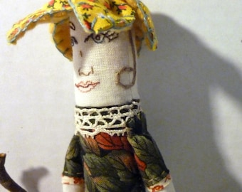 Ginny -7 Inch Plush Wildflower Art Toy, Made From Salvaged and Re-Purposed Fabrics