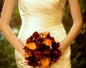 Autumn wedding bouquet real touch orchids calla lilies red orange brown wedding flowers