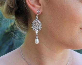 Crystal Bridal Earrings, Rhinestone & Pearl Wedding Earrings, Wedding Jewelry, Bridal Jewelry, Bridesmaid Earrings LUCY