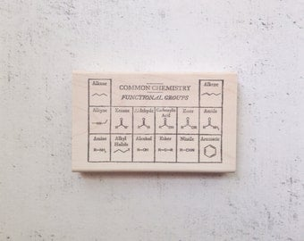 The Organic Chemistry Functional Groups Stamp - Chemistry Chart Study Notes- Teacher's Science Rubber Stamp