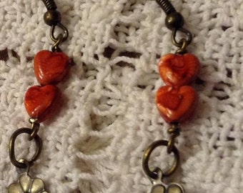 Antique Gold Dangle Earrings With Orange Hearts and Flowers