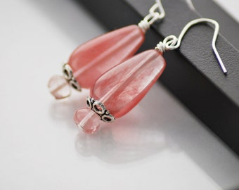 Cherry Quartz Earrings, Drop Earrings, Cherry Quartz Jewelry, Coral Pink Earrings, Silver and Pink Earrings, Quartz Earrings, Drop Earrings