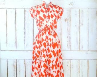 70s vintage red/ivory harlequin print midi day dress/diamond print dress/sheer red dress