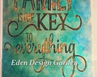 Etched metal sign FAMILY is the KEY to everything with antique skeleton key