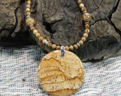 """African Queen picture jasper necklace 20"""" long reversible brown circle pendant tan semiprecious stone jewelry packaged in a gift bag 10667"""