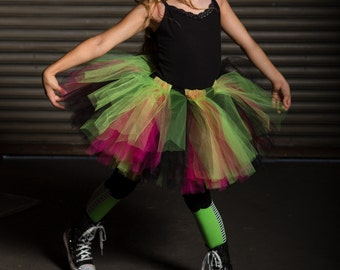 Witch Tutu - Witch Sewn Tutu - Pink, lime and black tutu - witch - Witch Costume