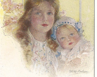 "Victorian Postcard - Sisters - Girl and Baby Girl - "" Peach Blossoms "" Illustration  by Philip Boileau"