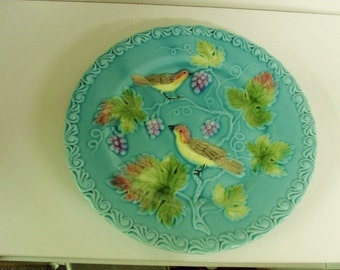 Zell Majolica Plate with Bird and Grape motif