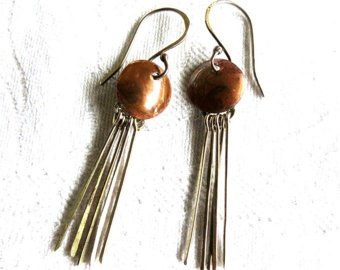 Dangle Earrings, Metal Tassels, Tassel Earrings,  Bohemian, Hipster, Hippie, Rustic, Long Earrings