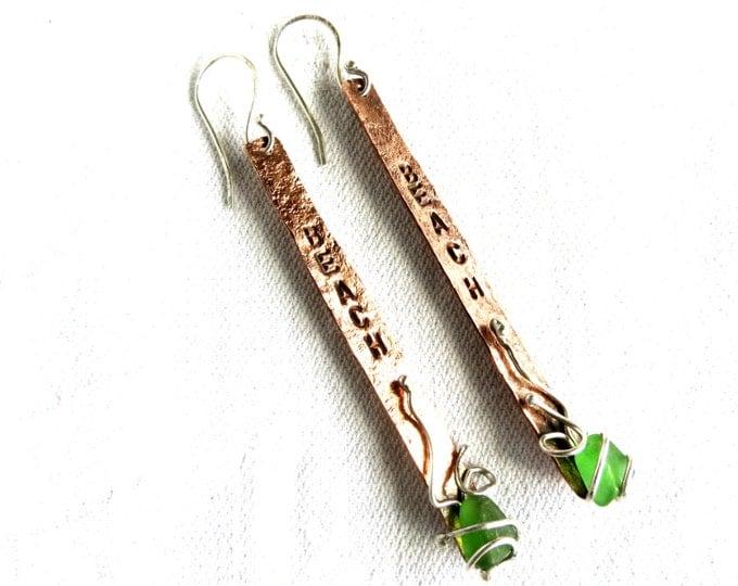 Dangle Earrings, Beach Glass Earrings, Green, Peridot, Long Earrings, Sea Glass, Beach Inscription, Handmade, Love the Sea