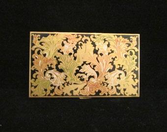 Vintage Volupte Cigarette Case 1950s Enameled Ladies Business Card Case Card Holder