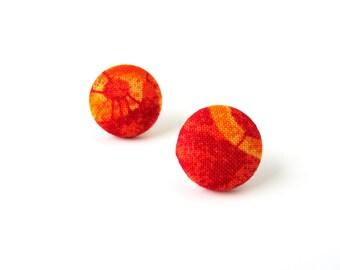 SALE Orange fabric earrings - red button earrings - tangerine stud earrings yellow - under 10