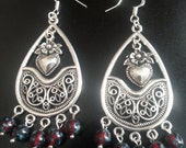 Mexican Tasco Style Silver Plated Heart Red Picasso Bead Dangle Earrings