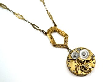Steampunk Necklace, Art Deco Necklace, Gold Necklace