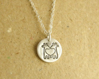Small Twin Giraffe Necklace, Mini Giraffe Twins Necklace, Fine Silver, Sterling Silver Chain, Made To Order