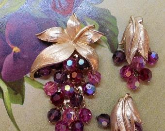 Hot Pink Austrian Dangle Crystal Brooch & Earrings Set    KAZ8