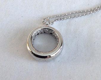 Unique Silver Pendant necklace, Silver Statement necklace, Long pendant necklace, Sparkly silver necklace, modern long necklace, mom gift