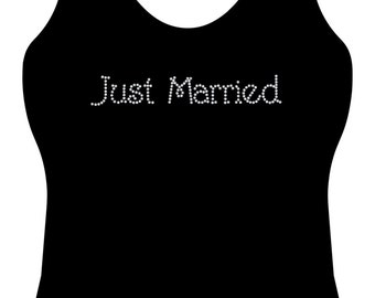 Just Married rhinestone honeymoon bling tank top