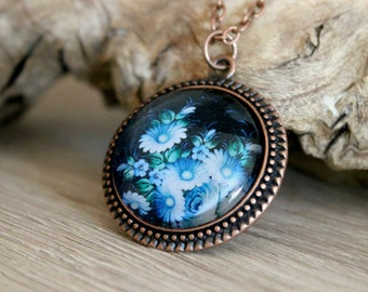 Blue Flower Bunch Necklace, Zhostovo Russian Folk Art, Antique Copper Pendant, Floral Jewelry