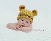 Newborn Hat, Newborn Boy Hat, Baby Boy Teddy Bear Hat, Mustard Hat with Brown, Ears, Newborn Photo Props. Baby Shower Gift. Baby Boy Gift.