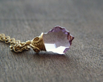 Lavender Crystal Necklace - Gold Filled Wire Wrapped Amethyst Swarovski Necklace - Shimmer Sparkle Glitter Jewelry