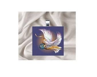 Scrabble Tile Pendant Necklace Christmas Dove
