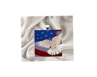 Scrabble Tile Pendant Necklace American Flag with Dove