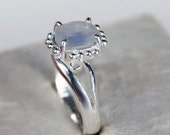 Blue Sapphire Engagement Ring, Gemstone Ring, Sterling Silver Ring, Cabochon Light Blue Sapphire