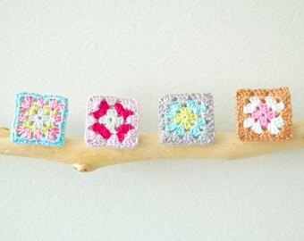 Small Multi-coloured Granny Square Crochet Brooches