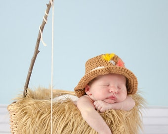Gone Fishing Newborn Baby Boy Photo Prop Hat and Fish Set