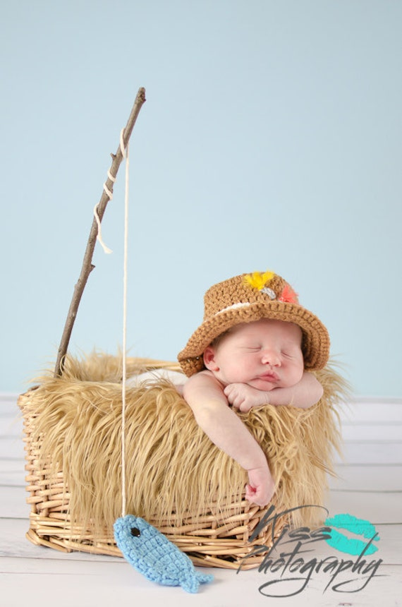Items similar to gone fishing newborn baby boy photo prop for Baby fishing hat