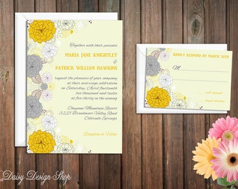 Wedding Invitation - Spring Flowers in Mustard Yellow and Gray - Garden Party - Invitation and RSVP Card with Envelopes