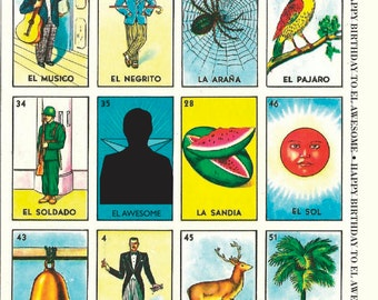 Happy Birthday to El Awesome! Mexican Lottery A2 Greeting Card