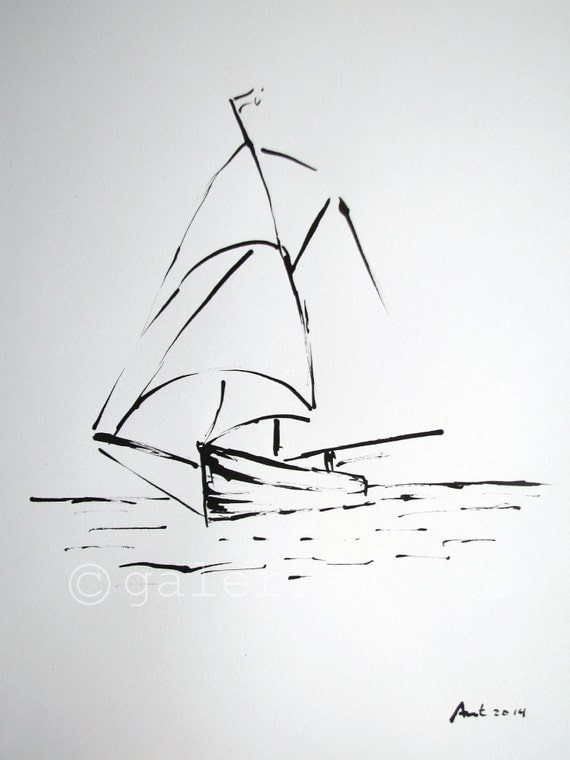 Original ink drawing sailboat europeanstreetteam - Voilier dessin ...