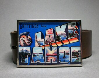 Lake Tahoe California Nevada Belt Buckle Vintage Postcard