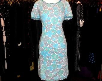 60s aqua blue flower power soft cotton dress 1960s two tone bow detail floral print pockets dress size large 10 12