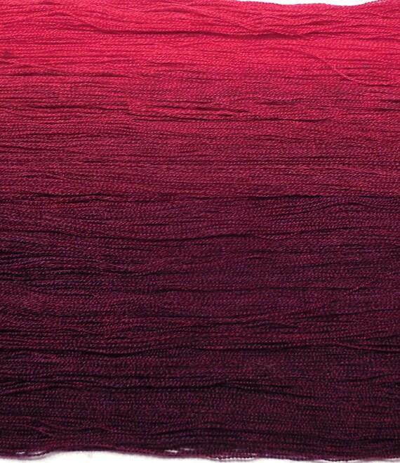 Extra fine merino silk yarn lace weight hand dyed yarn 98g (3.4oz) - Ombre gradient - Raspberry to plum
