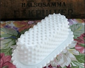 Milk Glass Hobnail Butter Dish by Fenton