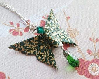 Vintage Green Origami Butterfly Necklace with Swarovski Crystal, Origami Jewelry, Asian Jewelry, Japanese Necklace, Handmade Paper Jewelry