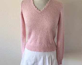 80s///Pastel Pink Sporty Spring Sweater/// Size S/M