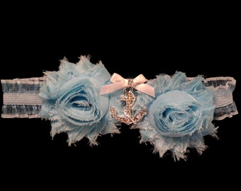 Anchor Nautical Wedding Something Blue Garter Set for Boating, Sailor, Beach, and Sea Themed Wedding